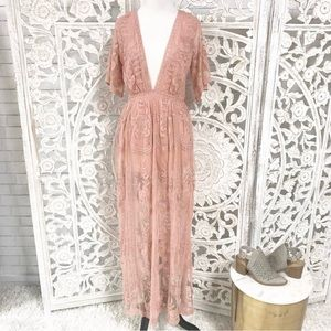 Honey Punch pink blush lace maxi dress, worn once!